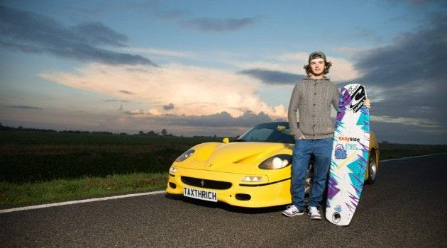 When wake boarding and a Ferrari F50 combine