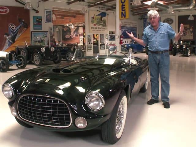 Jay Leno drives a 1952 Ferrari Barchetta